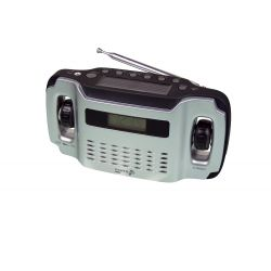 POWERplus Lynx, solar en dynamo oplaadbare AM / FM radio met LCD display en LED verlichting