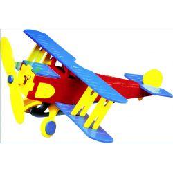 houten speelgoed bouwpakket vliegtuig model - werkt op zonne-energie